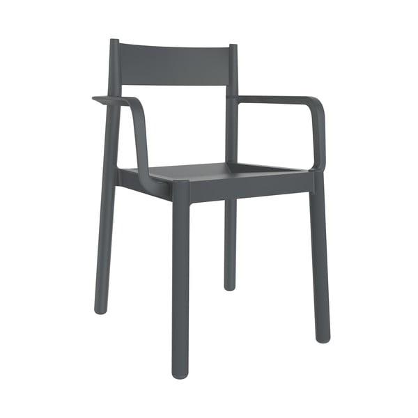 Set 4 scaune de grădină cu cotierei Resol Danna, gri închis
