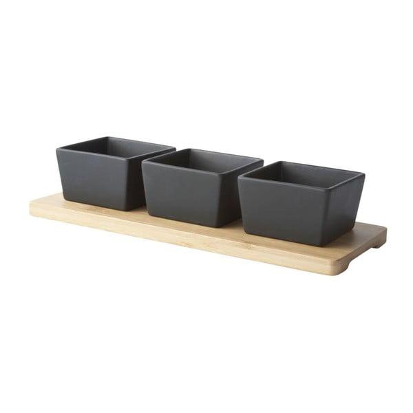 Set tavă cu 3 boluri pătrate KJ Collection, negru