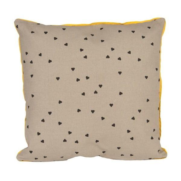 Polštář Confetti Hearts Grey, 45x45 cm
