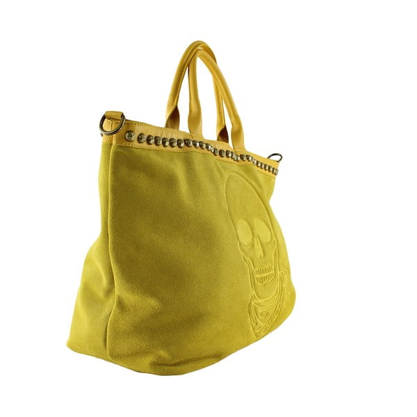 Kožená kabelka Skull, žlutá
