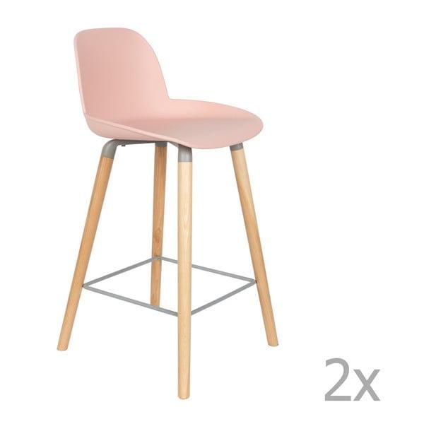 Sada 2 růžových barových židlí Zuiver Albert Kuip, výška sedu 65cm
