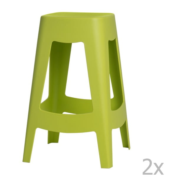 Sada 2 zelených barových židlí D2 Tower