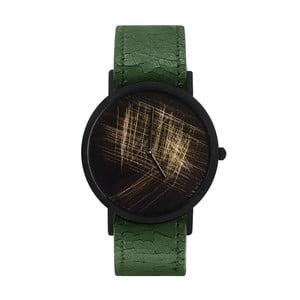 Unisex hodinky se zeleným řemínkem South Lane Stockholm Avant Gold Scratch