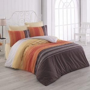 Lenjerie de pat din bumbac cu cearșaf Summer, 200 x 220 cm, portocaliu