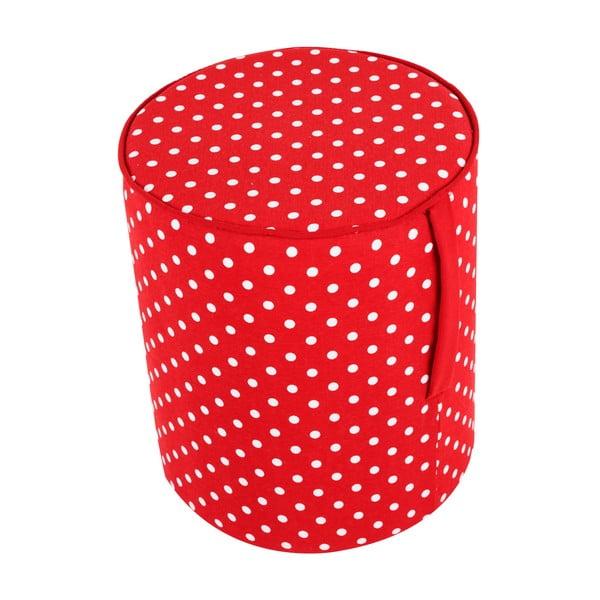 Kulatý puf Pois, červený vzorek
