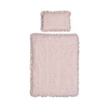 Set păturică matlasată din in și pernă pentru copii BELLAMY Dusty Pink, 80 x 100 cm, roz de la BELLAMY