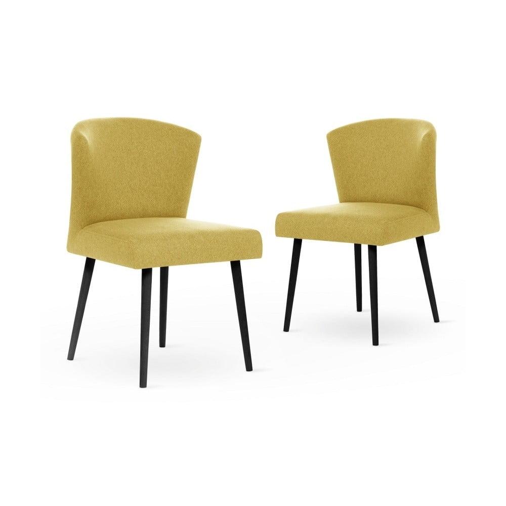 Sada 2 tmavě žlutých jídelních židlíc s černými nohami My Pop Design Richter