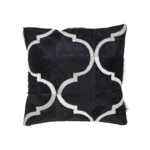 Kožený polštář Eclipse Black, 45x45 cm