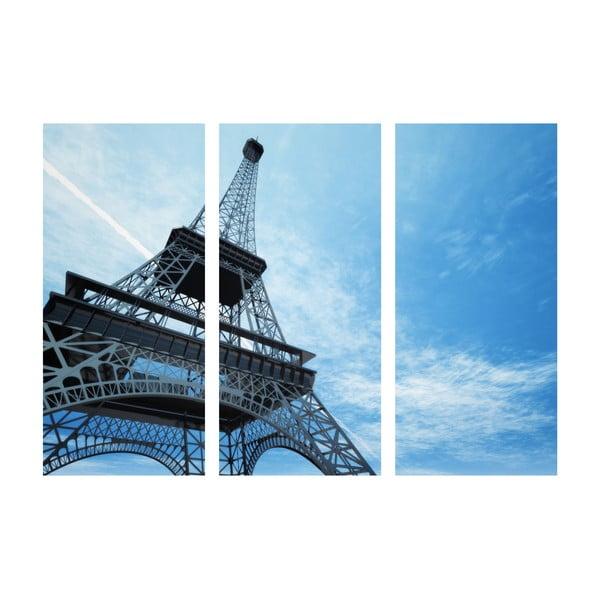 3dílný obraz Modrá Eiffelovka