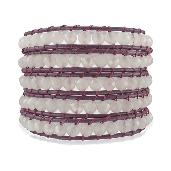 Fialový pětiřadý náramek z pravé kůže s perlami Lucie & Jade