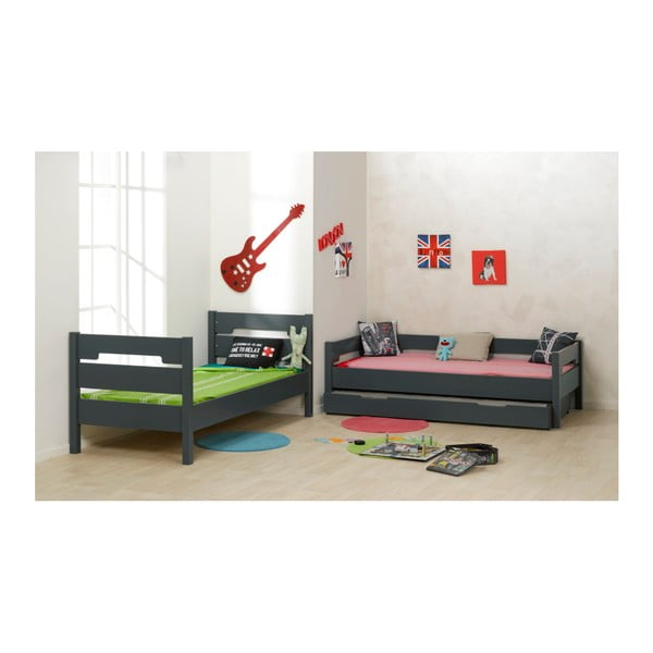 Dětská černá dvoupatrová postel přestavitelná na jednolůžko JUNIOR Provence Milo, 90x190cm