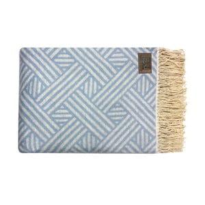 Modrý bavlněný pléd Fibre, 130x170cm