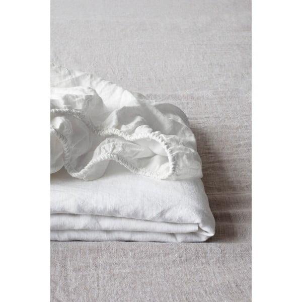 Białe elastyczne prześcieradło lniane Linen Tales, 90x200 cm