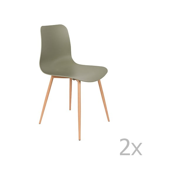 Set 2 scaune White Label Leon, verde
