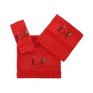 Set červené utěrky, ručníku a osušky z bavlny Bisiklet Red