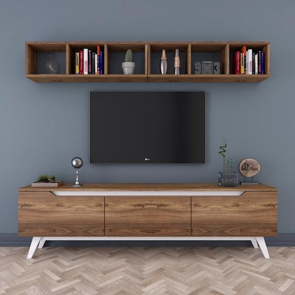 Zestaw komody pod TV i półki ściennej w dekorze drewna orzechowego