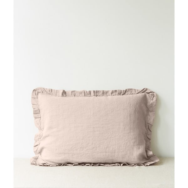 Světle hnědý lněný povlak na polštář s řaseným lemem Linen Tales, 50 x 60 cm