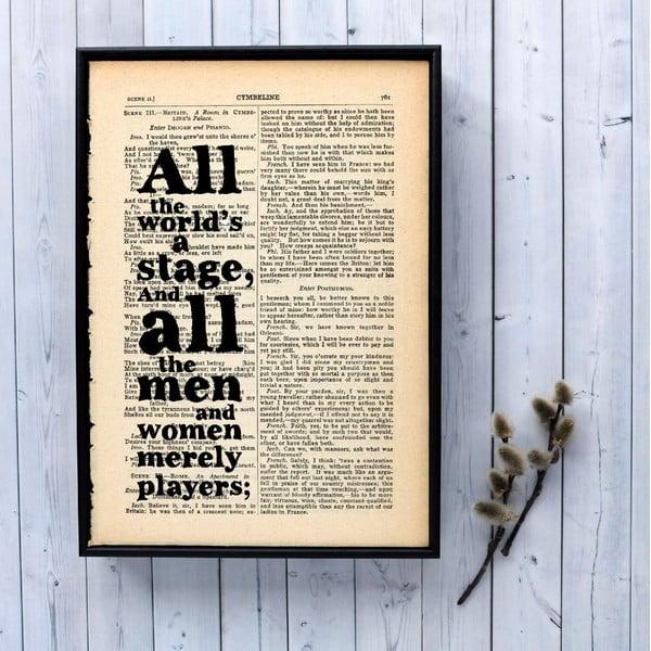 Plakát v dřevěném rámu Shakespeare Stage