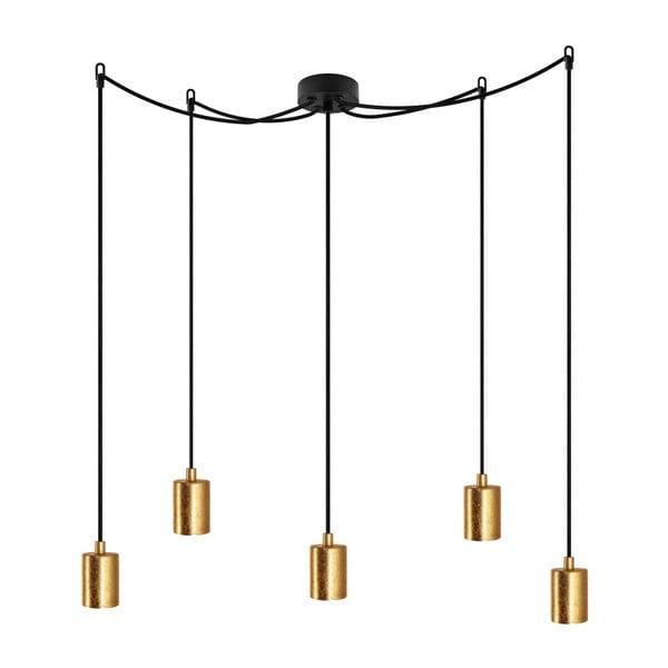 Černé závěsné svítidlo s 5 kabely a objímkami ve zlaté barvě Bulb Attack Cero