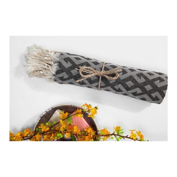 Hammam osuška Orient Black, 95x175 cm