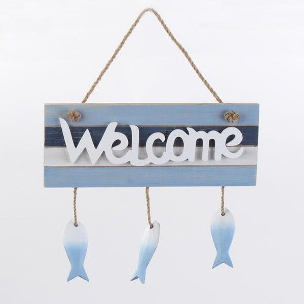 Nástěnná dekorace Welcome, modrá