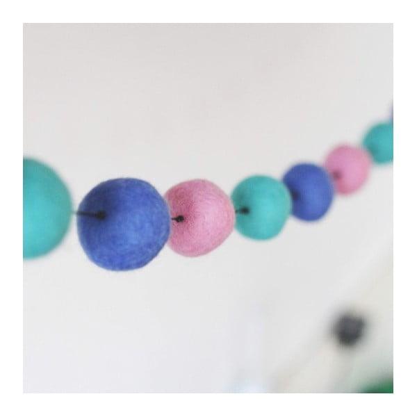Girlanda z ručně vyrobených kuliček Felt, růžová/mátová