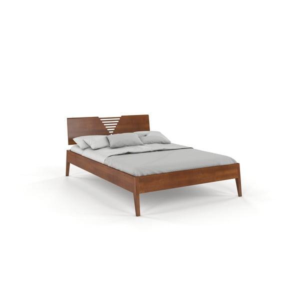 Dvojlôžková posteľ z bukového dreva v orechovom dekore Skandica Visby Wolomin, 160 x 200 cm