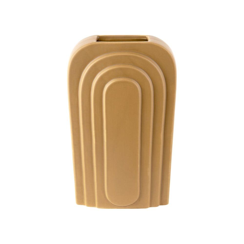 Žlutá keramická váza PT LIVING Arc, výška 18 cm