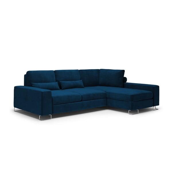 Colțar extensibil cu tapițerie de catifea și șezlong pe partea dreaptă Windsor & Co Sofas Diane, albastru