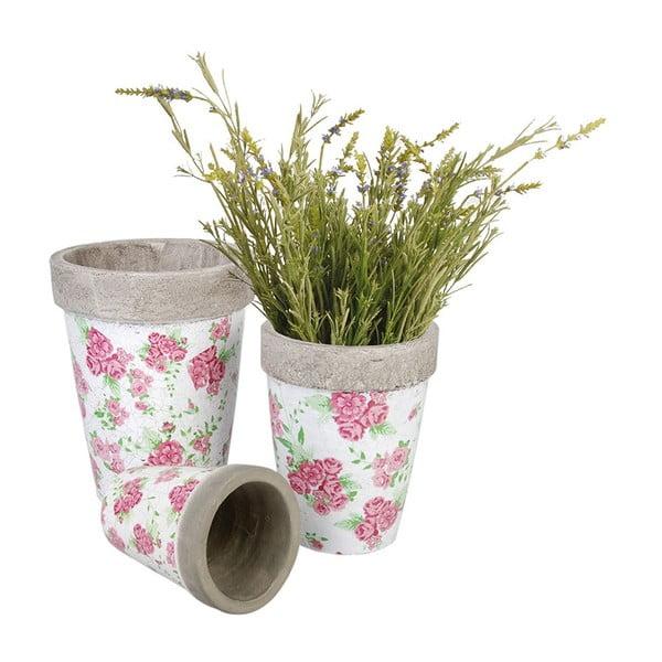 Sada 3 kulatých keramických květináčů Spring Time