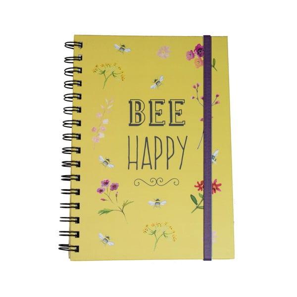 Żółty notes kołowy David Mason Bee Happy, 6x21,5 cm