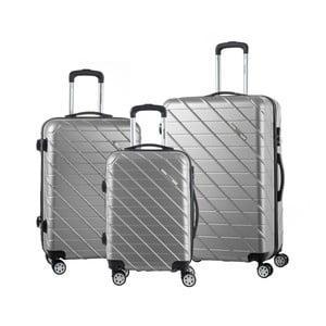 Sada 3 šedých cestovních kufrů na kolečkách Murano Americano
