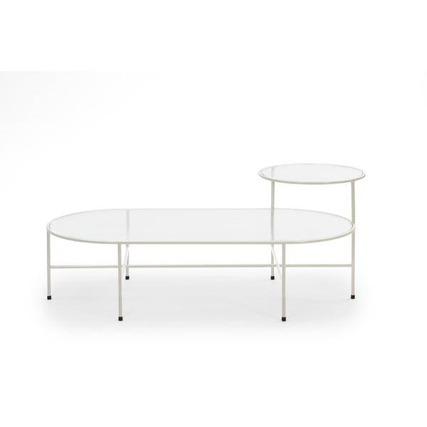 Krémově bílý konferenční stolek se skleněnou deskou Teulat Nix