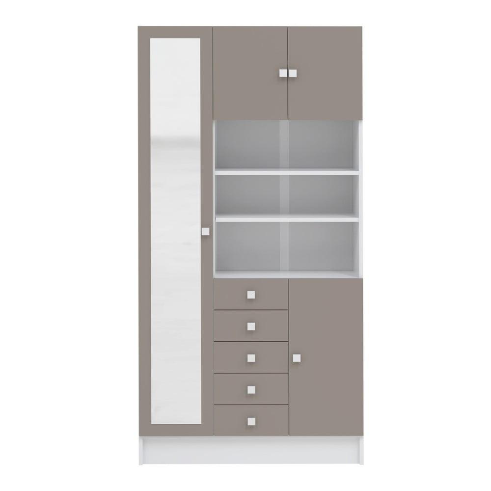 Šedohnědá koupelnová skříňka Symbiosis André, šířka 90 cm