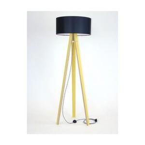 Žlutá stojací lampa s černým stínítkem a černo-bílým kabelem Ragaba Wanda