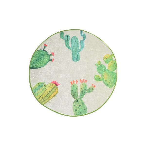Bílo-zelená koupelnová předložka Tropica Cactus I, ⌀ 100 cm
