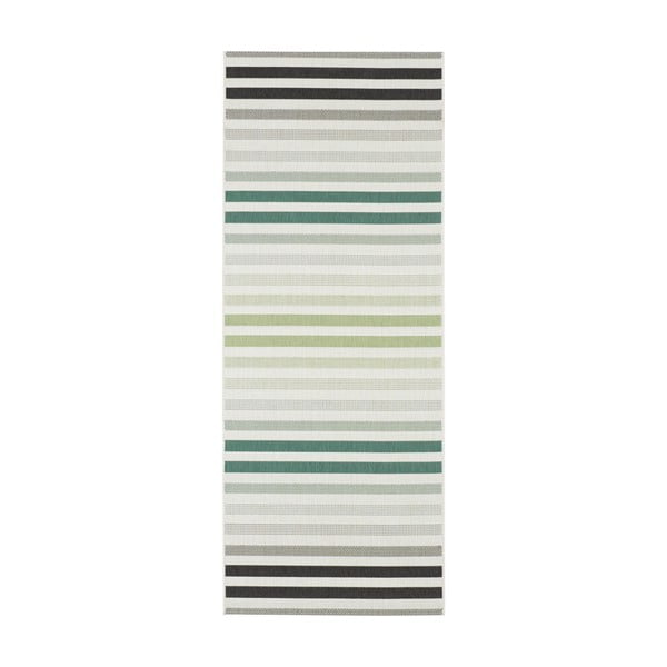 Covor potrivit pentru exterior Bougari Paros, 80 x 200 cm, verde - gri