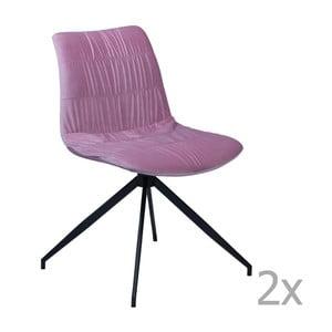 Sada 2 růžových jídelních židlí DAN– FORM Dazz