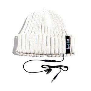 Hi-Hat Zimní čepice se sluchátky, bílá
