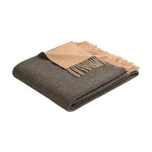 Pătură din lână Biederlack antracit-camel, 170 x 130 cm