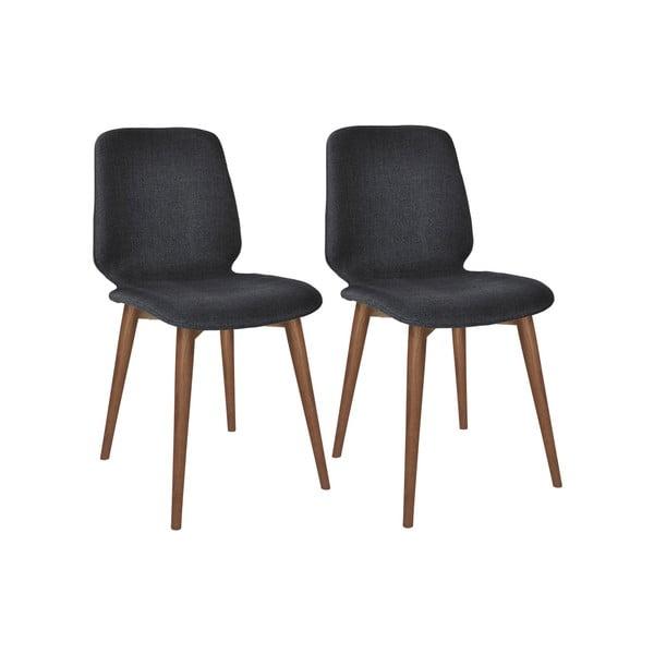 Komplet 2 czarnych krzeseł z nogami z litego drewna orzechowego WOOD AND VISION Basic