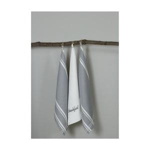 Sada 3 šedo-bílých kuchyňských utěrek My Home Plus Breakfast, 50 x 70 cm