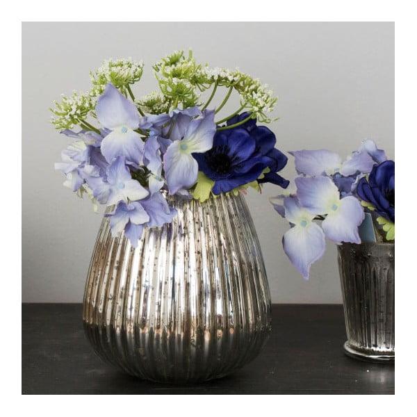Skleněná váza s umělou květinou Hydrangea, 23 cm