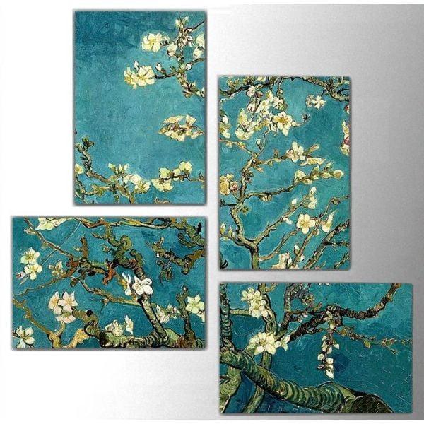 4dílný obraz Art Flowers, 76x76 cm