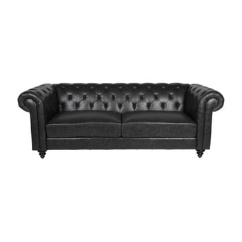 Canapea cu 3 locuri Actona Charlietown, negru
