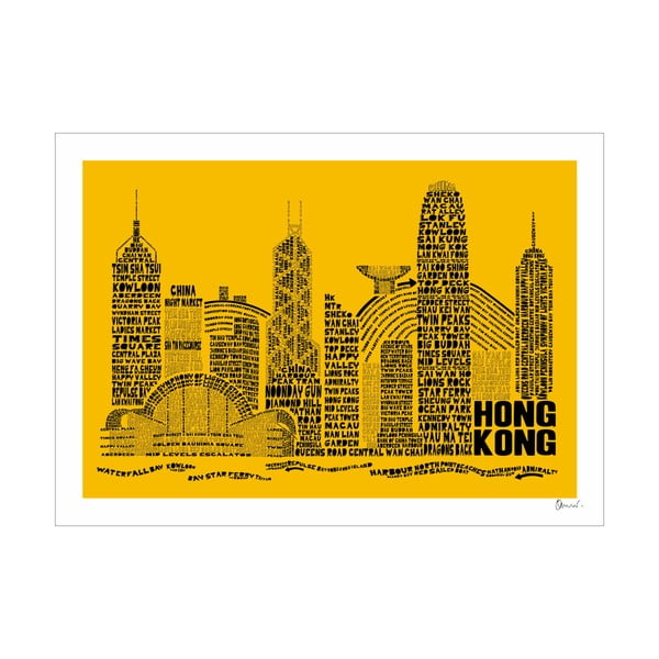 Plakát Hong Kong Yellow&Black, 50x70 cm