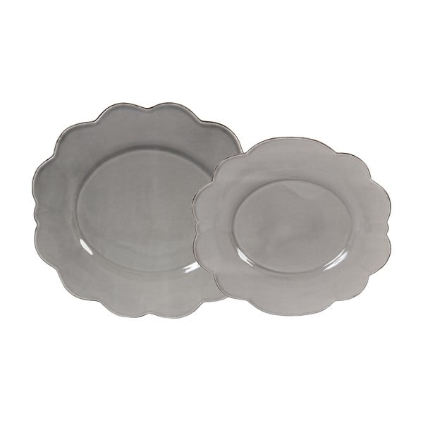 Sada 4 ks dezertních talířů Grey Petale