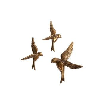 Set 3 păsări decorative din alamă BePureHome