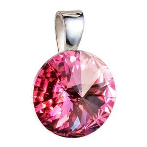Růžový přívěsek ze stříbra se Swarovski krystalem Je Veux Herno