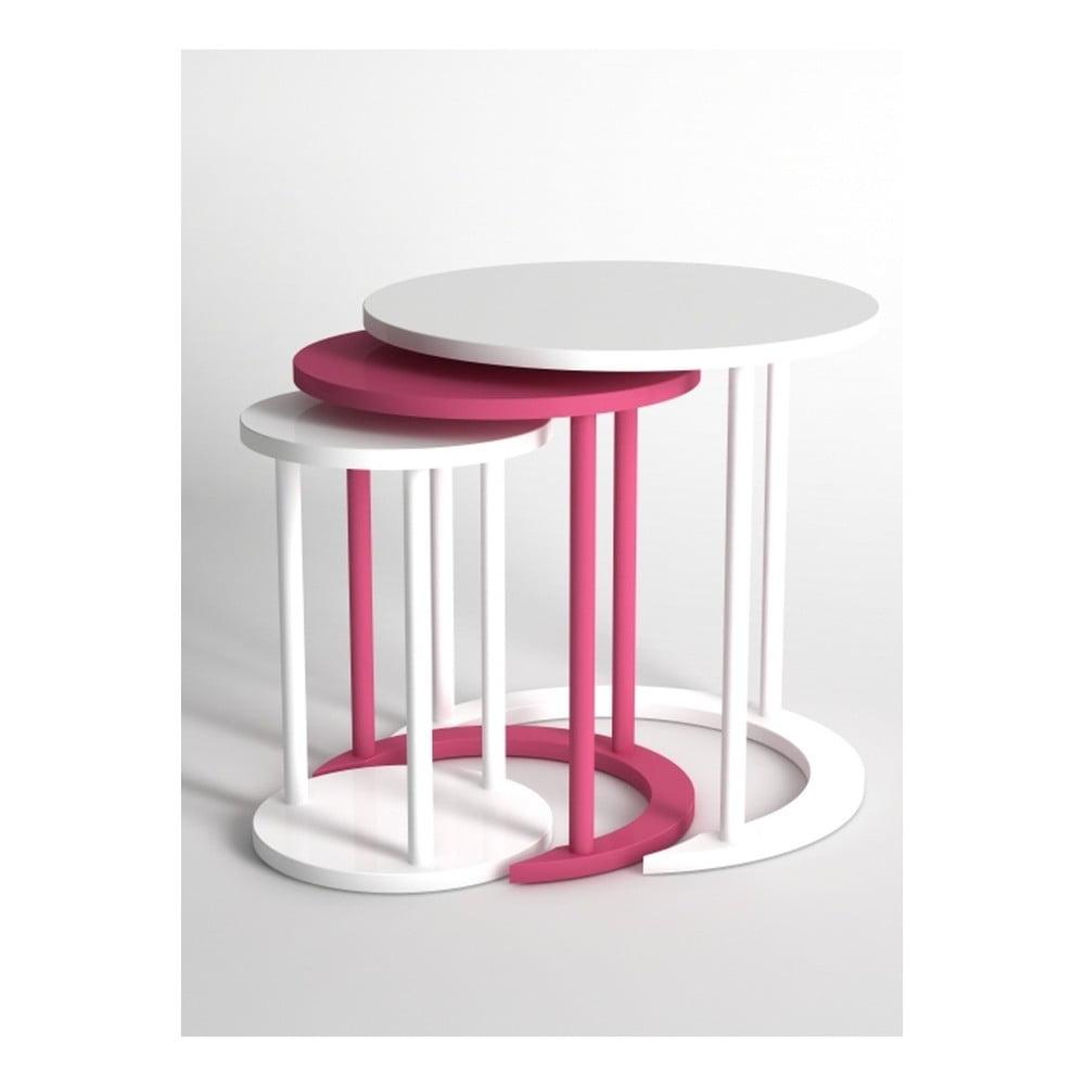 Sada 3 konferenčních stolků v bílé a růžové barvě Monte Cape